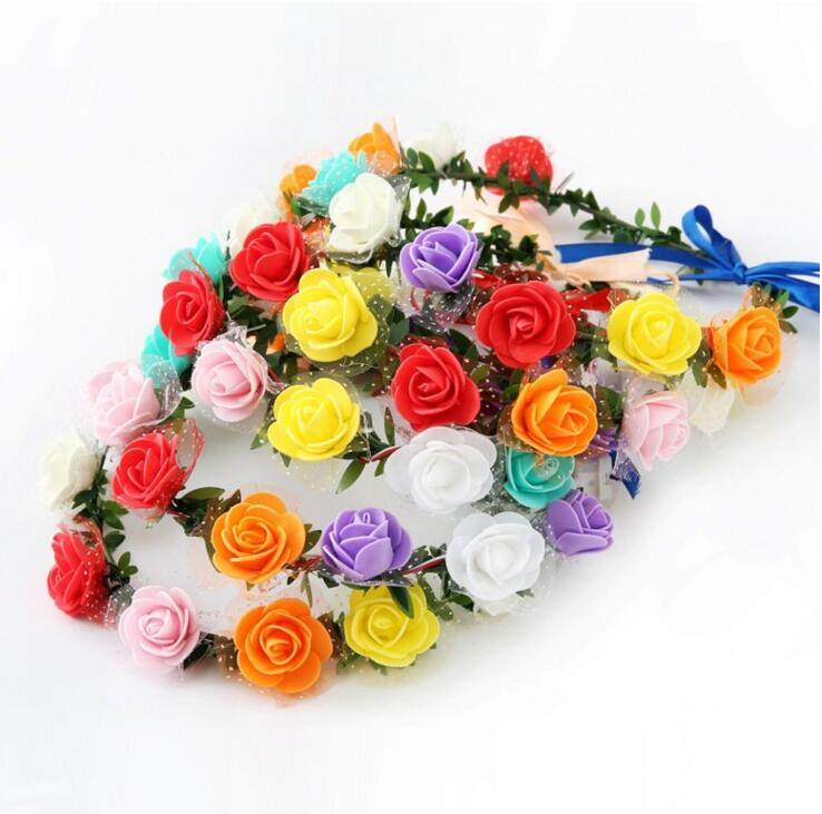 Wedding Baby Girl Rose Flower Rattan Headband Baby Kids Headwear Photo Props Holiday 10pcs/lot #8c010 Hair Accessories