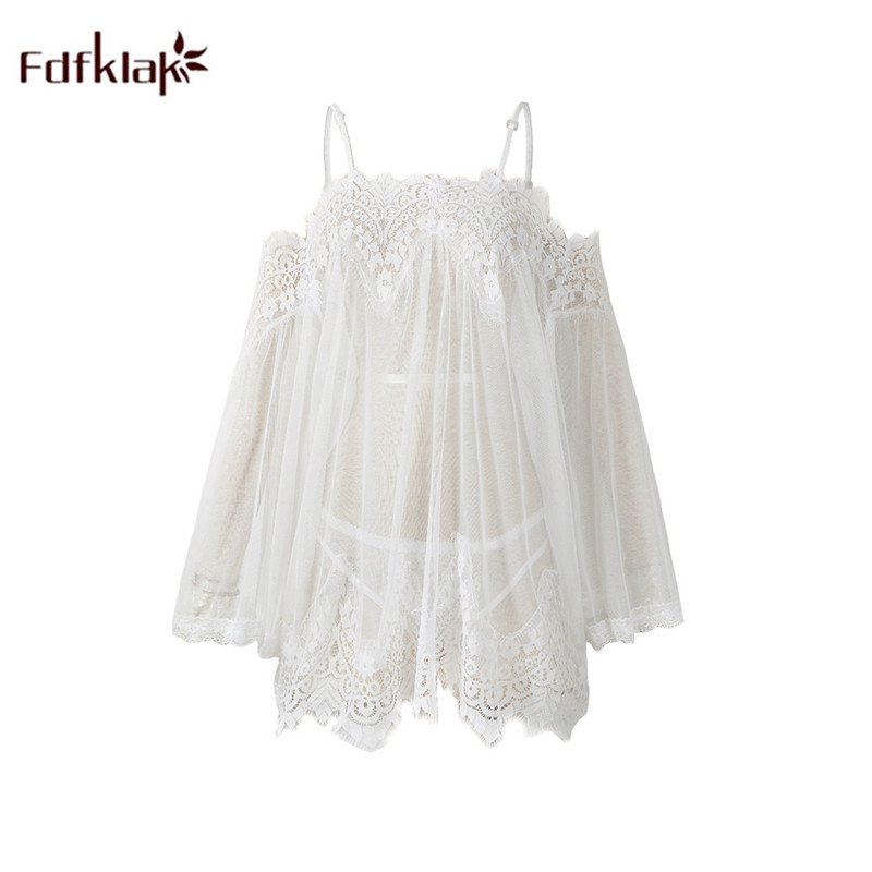 Fdfklak Sexy Strapless Short Dress Women Summer Sleepwear Nightgowns Temptation Transparency Nightdress Female Night Shirt