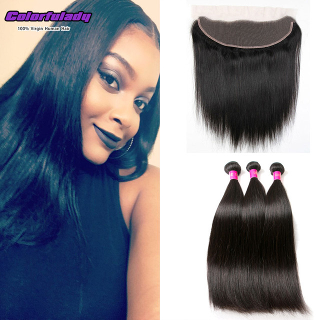 straight 13x4 lace frontal closure with bundles Brazilian virgin hair ear to ear frontal with 3 bundles straight mink human hair