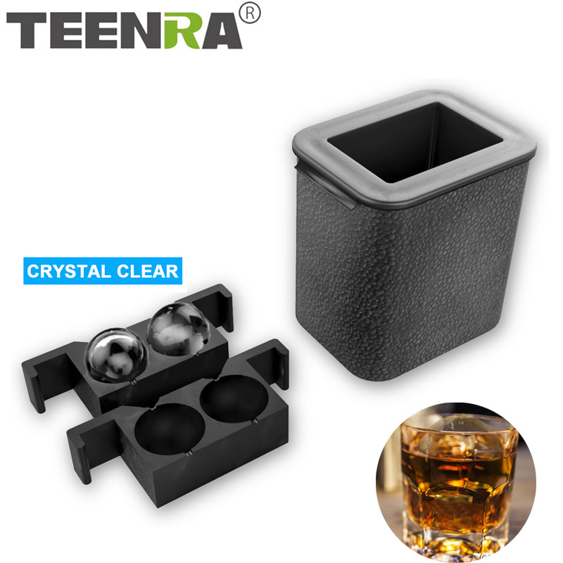 TEENRA 2 In 1 Crystal Clear Ice Ball Maker Silicone Ice Mold Tray Ice Cube Maker