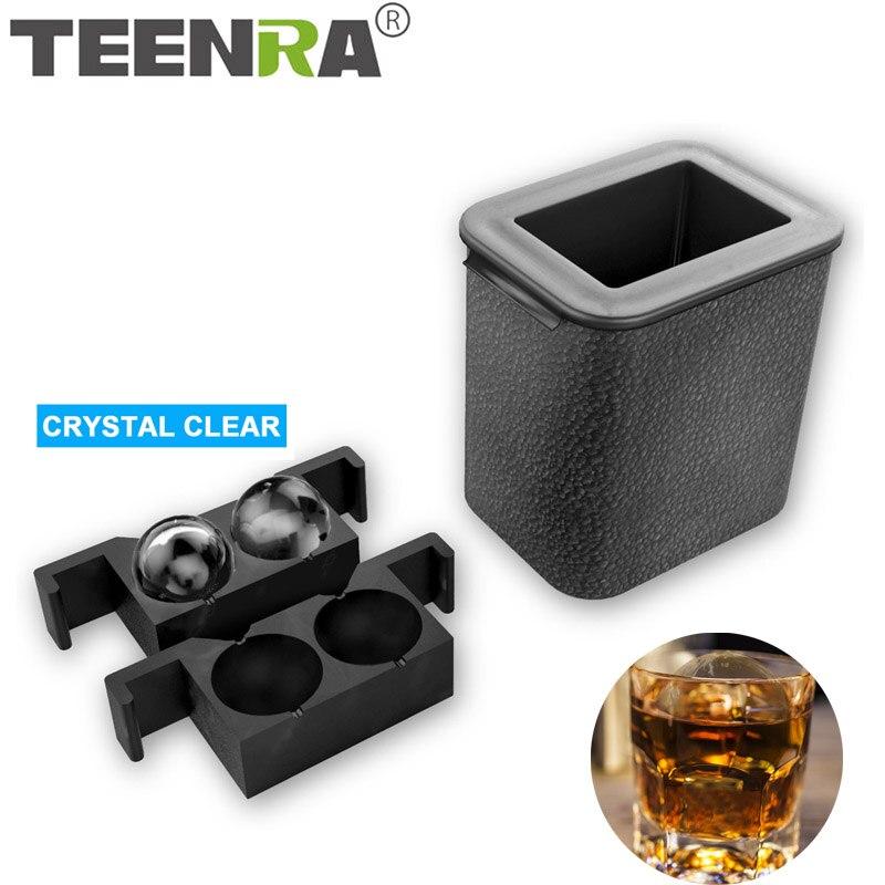 TEENRA 2 Em 1 Crystal Clear fabricante De Bola De Gelo Molde de Gelo de Silicone Bandeja de Cubos de Gelo Fabricante de Bandeja Redonda Esfera Molde ferramentas de Cozinha de Qualidade alimentar