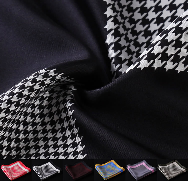 HN13 Houndstooth Handkerchief 100% Natural Silk Satin Mens Hanky Fashion Classic Wedding Party Pocket Square