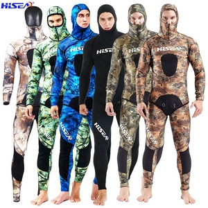Image 1 - Hisea 3.5 mm Men Camo Diving suit YAMAMOTO SCR Neoprene Spearfishing Suit warm With hat Hooded freediving Smooth shin Wetsuit