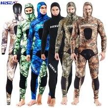 Hisea combinaison de plongée camouflage pour hommes, 3.5mm, combinaison de pêche chaude en néoprène, avec chapeau, effet de soleil lisse