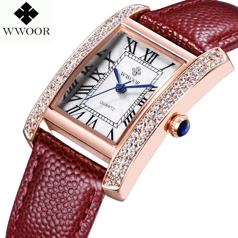 460b7bba61686 WWOOR 2016 جديد ماركة أزياء النساء ساعات كوارتز ساعة الماس اللباس السيدات  عارضة كريستال ساعات يد رياضية حزام من الجلد الأحمر