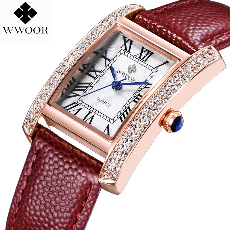 WWOOR 2016 New Brand Fashion Kvinnor Klockor Quartz Watch Diamonds Klänning Dam Casual Crystal Sport Armbandsur Läder Rem Red