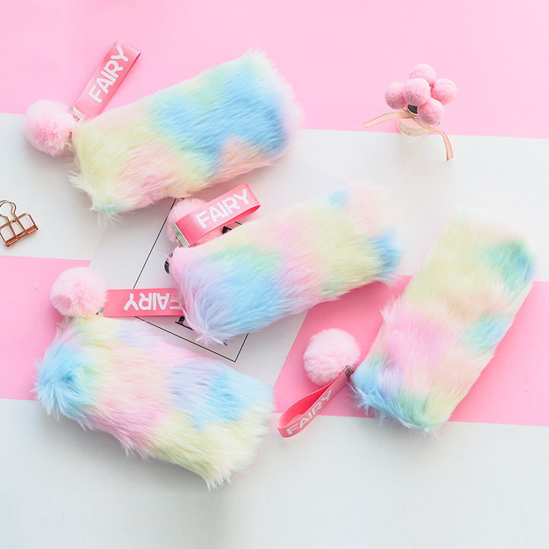 Rainbow Plush Pencil Case For Girls Cute Large Big Pen Bag Stationery Pouch Box Kids Gift Office School Supplies Zakka