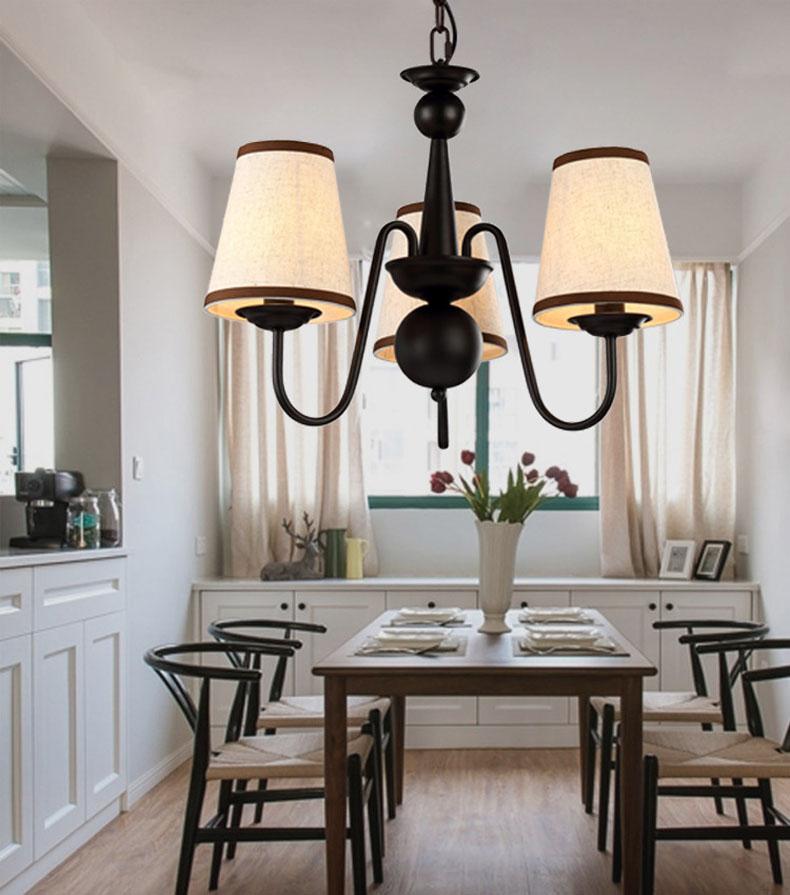 Noir métal lustre éclairage salle  manger lampe suspendue lampe