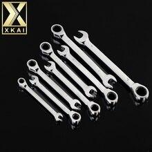 XKAI мм 8-19 мм трещотка гаечный ключ комбинированный ключ набор ключей трещотка Скейт инструмент Шестерня кольцо ключ трещотка ручка хром ванадиум