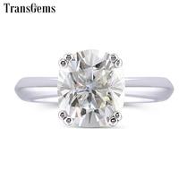 Transgems 2 карат ct 7X8 мм Подушка обручальное кольцо для Для женщин платиновым покрытием серебра