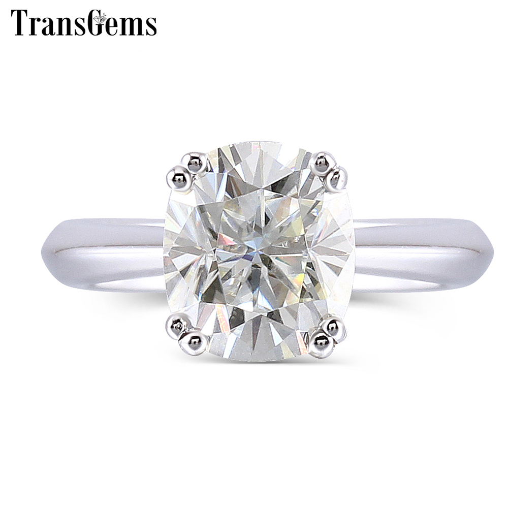 цены Transgems 2 Carats ct 7X8mm Cushion Cut Moissanite 2.8mm Band Width Engagement Ring for Women Platinum Plated Silver