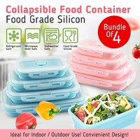 Collapsible Food Container(Bundle of 4 Sizes) / Food Grade Silicon / Microwave Safe
