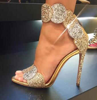 sandalias mujer 2017 zipper high heels sandals women bling bling gold sandals Evening shoes summer females shoes real picture