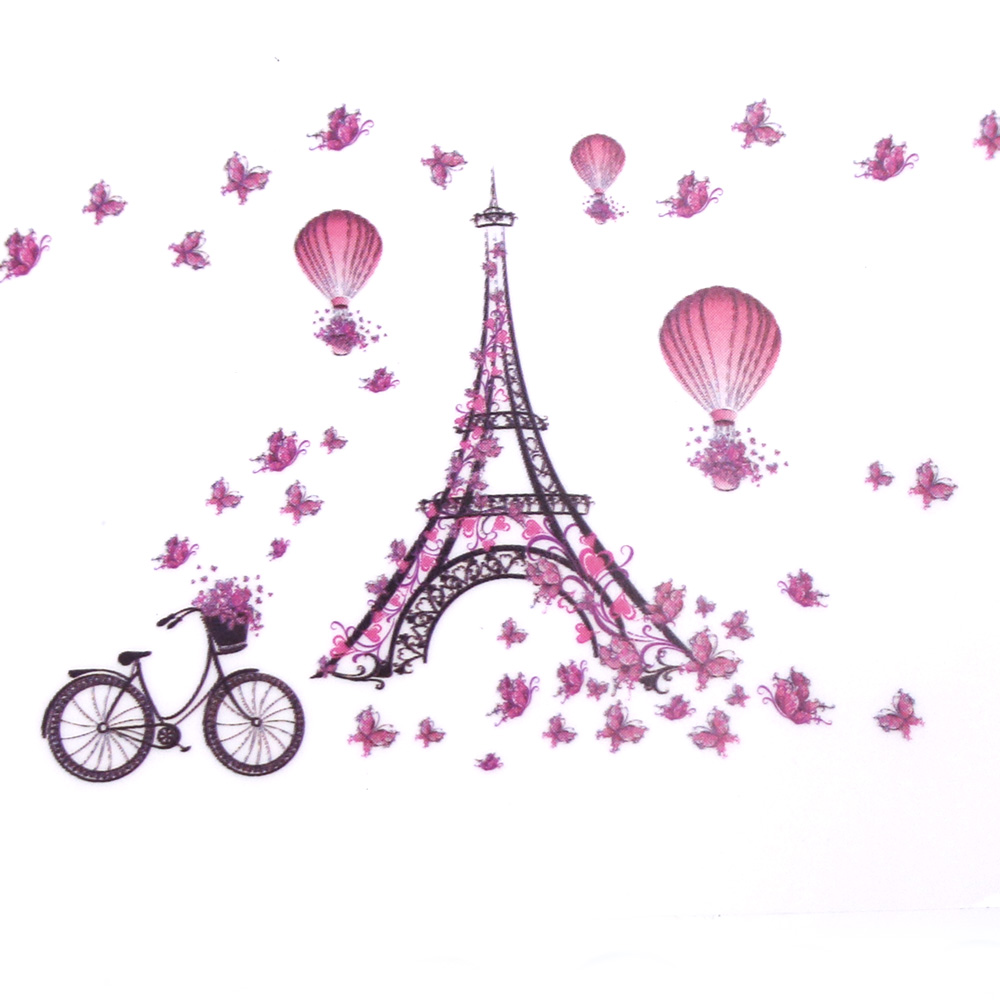 New for Eiffel Tower Pink Butterfly Vinyl Wall Sticker Decal DIY Nursery Kids Room Decor 60x45cm 1PC