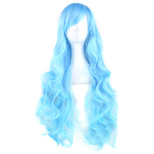 Soowee 20 Colors 80cm Long Curly Hair Wig Heat Resistant Synthetic Hair Blue Green Hairpiece Party Cosplay Wigs for Women(China)