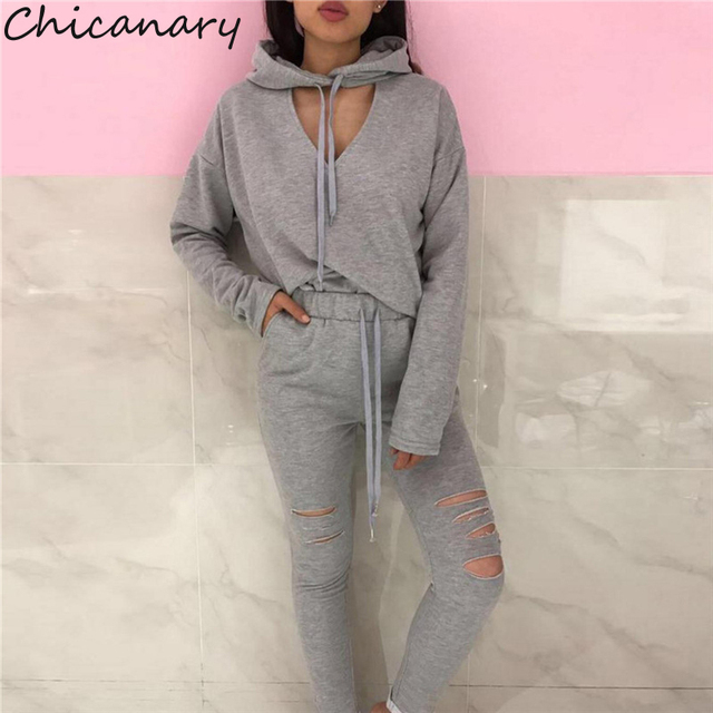 c5009f0579e Chicanary Key Hole Women Tracksuit Fall Hoodies Pants Sets with Knee Ripped  V-neck Hooded Pullover Tops