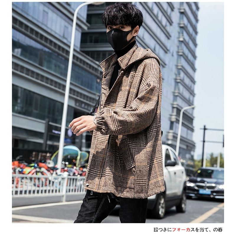 Male Long Coat Oversize Lapel Button Sobretodos Hombre Overcoat Streetwear (30)