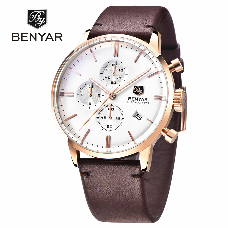 Benyar Luxury Brand Military Watches Men Quartz Chronograph Leather Clock Man Sports Army Wrist Watch Relogio Masculino New luxury brand pagani design waterproof quartz watch army military leather watch clock sports men s watches relogios masculino