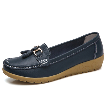 2019 Spring Autumn Woman Shoes Cow Leather Flats Women Slip On Loafers Momen Moccasins Shoes Female Large Size 35-44 1