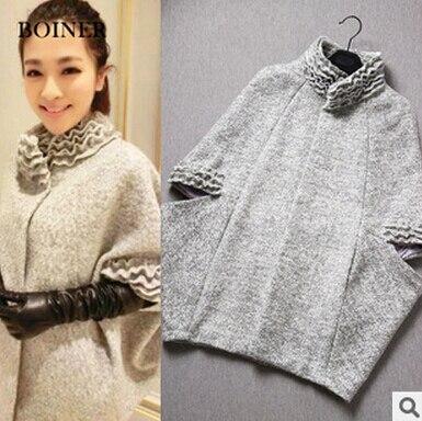 Бесплатная доставка 2017 весна осень зима новый Корейской версии большой размер женщин шерстяные персонализированные печати Траншеи дешево оптом