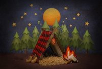 Camping Lumberjack Tent Night Hiking flame Forest full Moon moon tree backdrop Computer print party background