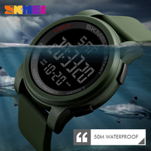 SKMEI Men Sports Watch Double Time Countdown Military Silicone Strap 50M Waterproof Digital Wristwatches Relogio Masculino 1257 skmei brand digital watch men sports watches countdown double time wristwatches relojes 50m waterproof relogio masculino 1251