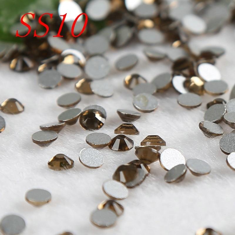 Smoked topaz SS10 1440pcs nail decorations Non Hotfix Rhinestones 3d nail jewelry accessaries good quality