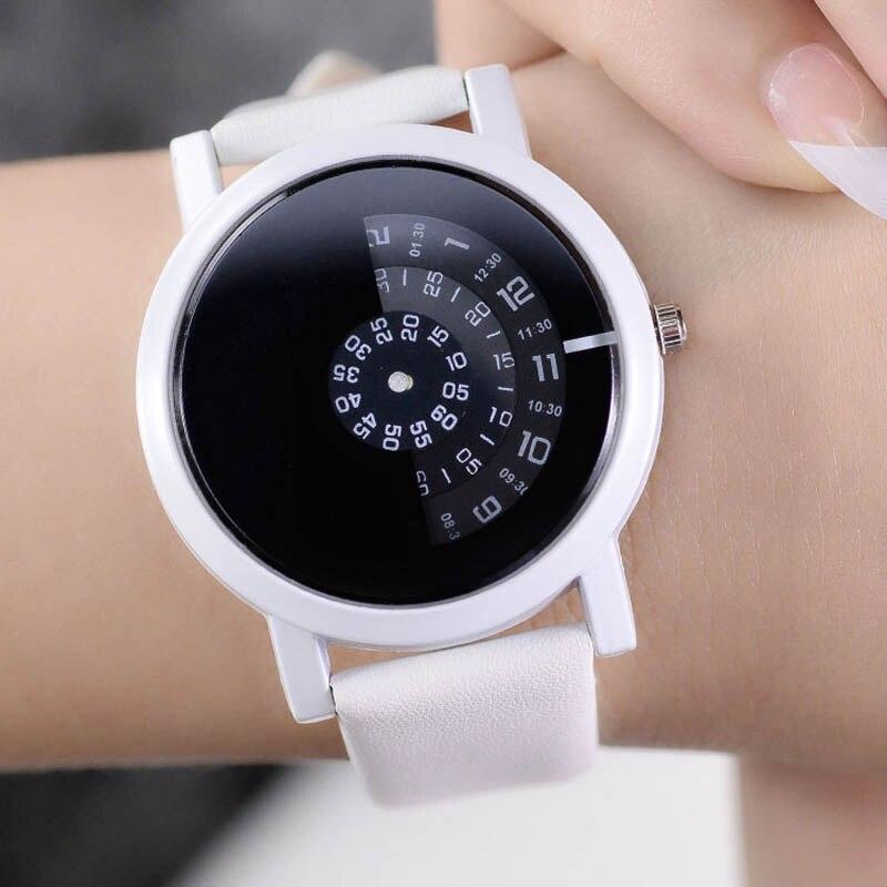2019 New Fashion Women Men digital Turntable Watch Couple PU Leather watchband Strap Quartz Wristwatch Simple Clock Wrist watch