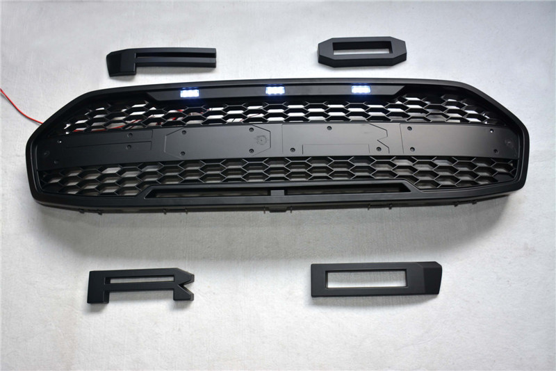 CITYCARAUTO TOP QUALIY 4LED Grill GRILLE matte Black Front racing Grill Fit for Everest endeavour car
