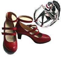 Anime Danganronpa Dangan Ronpa Celestia Ludenbeck Cosplay Boots Red High Heel Shoes Hight Quality PU Leather