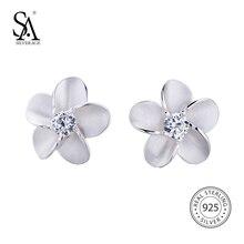 Sa silverage реальные 925 пробы классический цветочный модные серебряные серьги для женщин Fine Jewelry brincosstud серьги, серьги женские серебро гвоздики