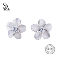 SILVERAGE 925 Sterling Silver Jewelry For Women Flower Inlaid Cubic Zircon Stud Earrings Mother S Day