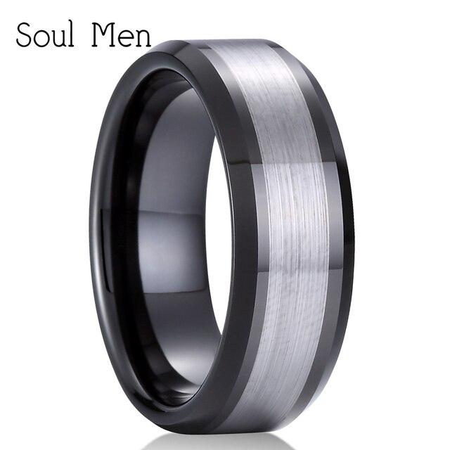 8mm Black Silver Tungsten Carbide Ring Men Women Unique Wedding
