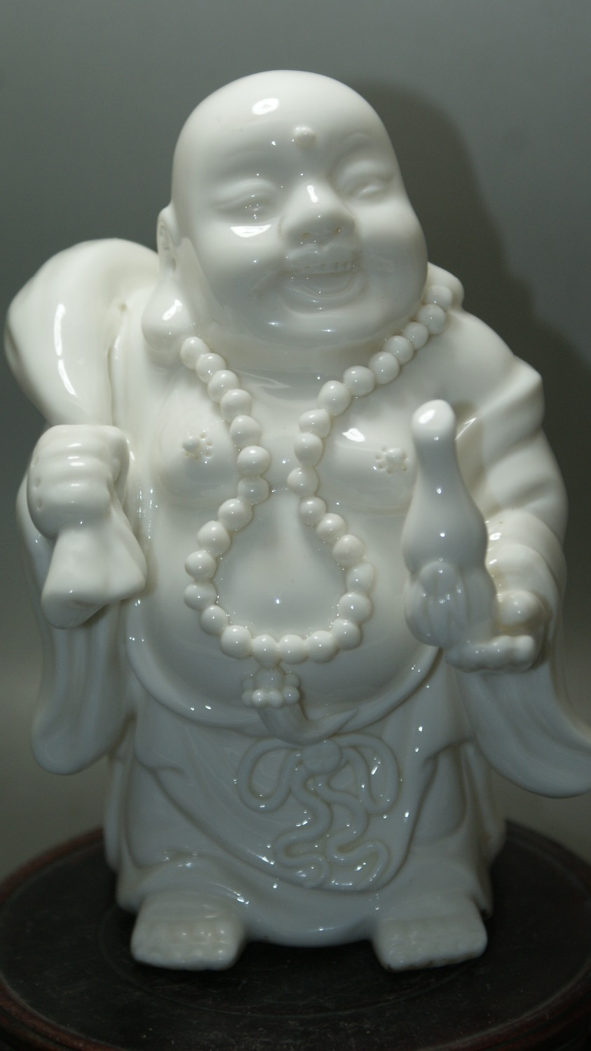 Fine China Old White Porcelain Hand carved excellent Holding God Water Buddha old statue