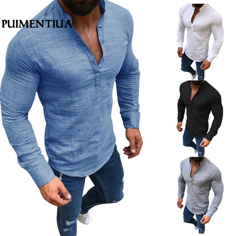 Puimentiua 2019 Chinese Style Men Linen Shirt Male Mandarin Neck Casual Soft Long Sleeve Slim Fit Shirt Solid Vintage Tops