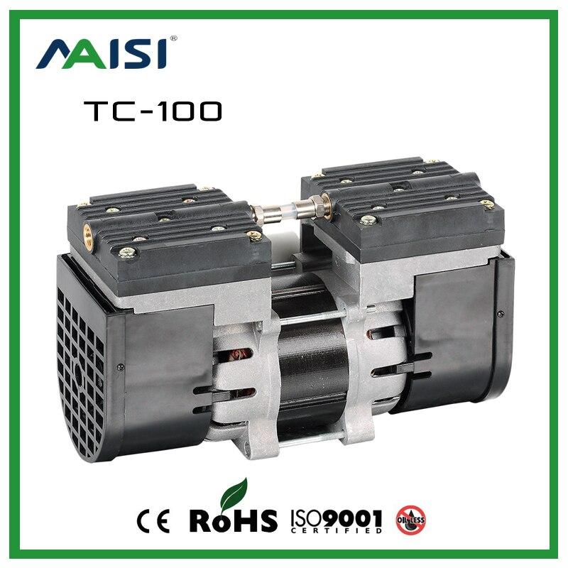 110V/220V Micro Diaphragm Pump 60HZ AC Oilless Air Pump 24L/MIN Two Heads High Pressure Dental Air Pump For Sterilizer TC-100