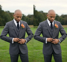 Terno Masculino Custom Made Grey Men Slim Fits Suits Tuxedos Grooms Suits Wedding Suits Formal Party
