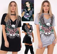 Letter Floral Print Punk Dress Women Casual Short Sleeve Choker Neck Mini T Shirt Dress 2018 Tshirt Summer Sundress Cute