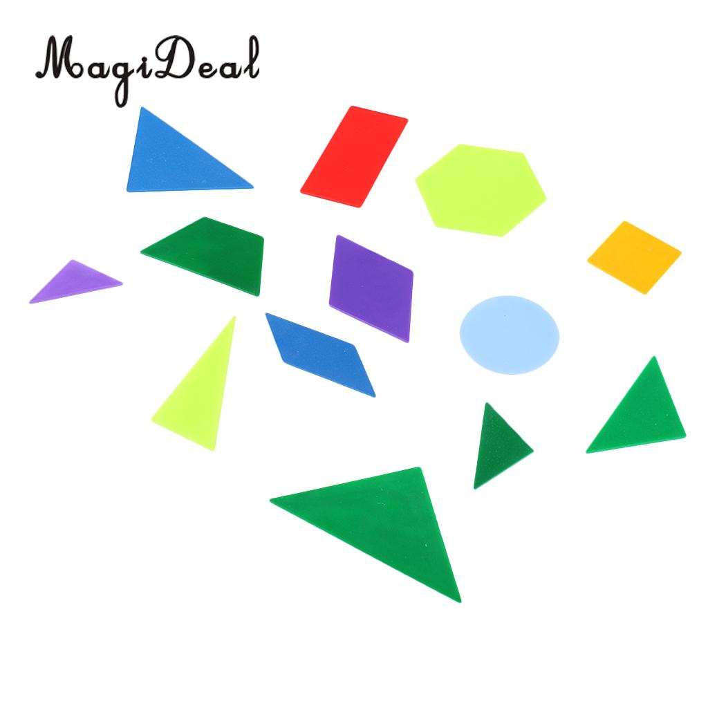 MagiDeal 13Pcs/Pack Plastic Math Toys Geometric Shape Figures for Kids Baby Gift Kindergarten Primary School Home Teaching Aid