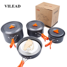 VILEAD 9pcs Camping Cookware Set Outdoor Hiking Cooking Bushcraft Portable Folding Pots Tableware Cutlery Utensils picnic set стоимость