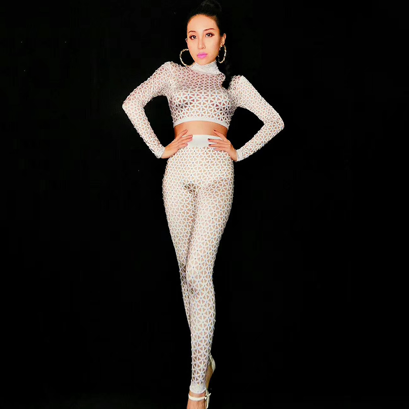 Sexy White Nude Printed Jumpsuit Singer Dancer Leggings Costume Big Stretch Bodysuit  Women Nightclub Outfit Party Wear DJ230-in Chinese Folk Dance from ... 11bff0be9ff4