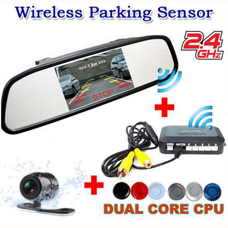 Genuine KOORINWOO Brand 2.4G Wireless Car parking Sensor system Kit With 4.3inch Mirror Monitor Rear view Camera Parktronic 4in1 koorinwoo 4 in 1 car parking sensor 8
