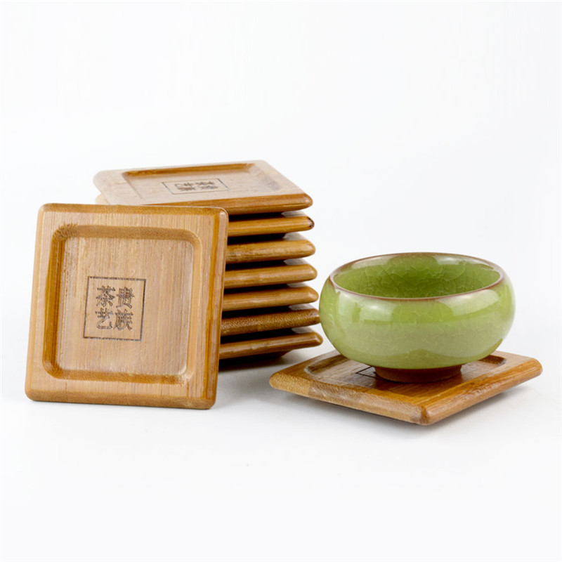 Chinese Natural Wood Tea Coasters DIY Wooden Cup Pad Tea Coffee Mug Drinks Holder Table Mat Table Decoration Kitchen Accessories in Mats Pads from Home Garden