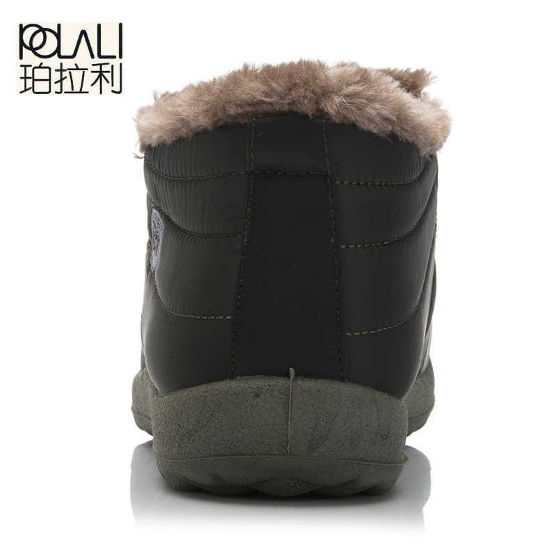 POLALI ใหม่แฟชั่นผู้ชายฤดูหนาวรองเท้าสีหิมะรองเท้าบูท Plush ภายในด้านล่าง Antiskid อุ่นรองเท้าสกีกันน้ำ Size35-48