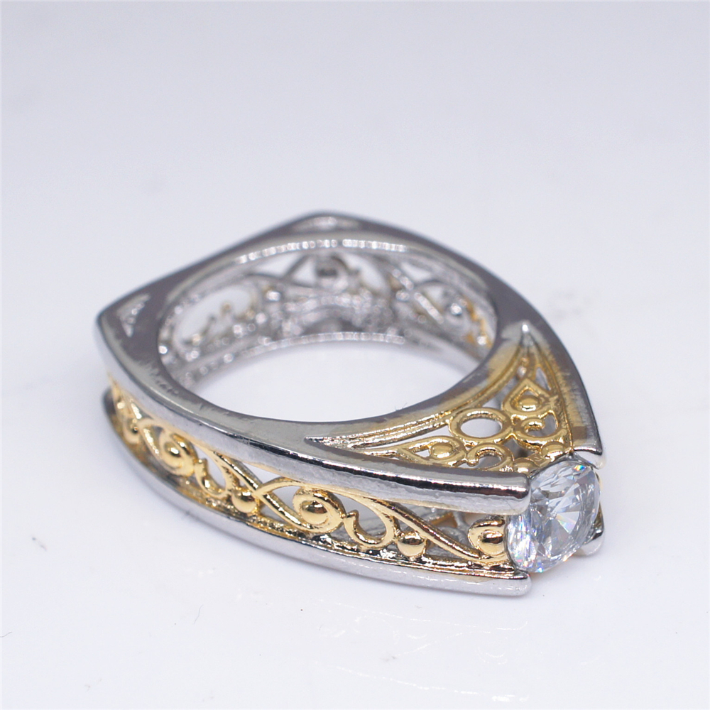 LOREDANA High Quality 1ct AAA Cubic Zirconia Hollow Gold and Silver Color Flower Triangle Ring for women Bridal Fashion Jewelry in Engagement Rings from Jewelry Accessories