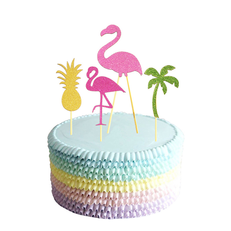 10pcs Hawaii Cake Topper Flamingo Pineapple Coconut Tree Cake Picks