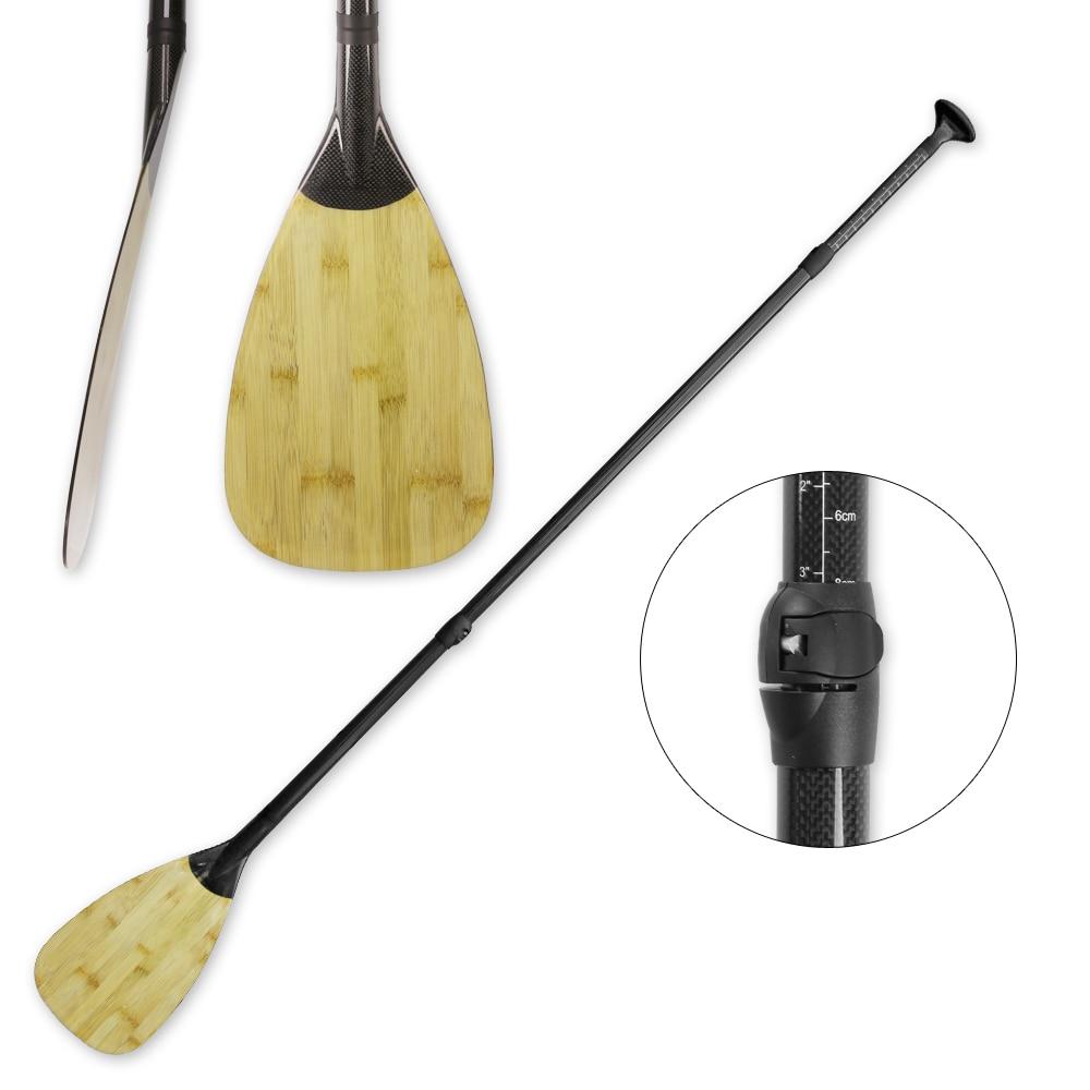Palette de SUP en Fiber de carbone en bambou réglable de 3 pièces légère de haute qualité avec sac de transport