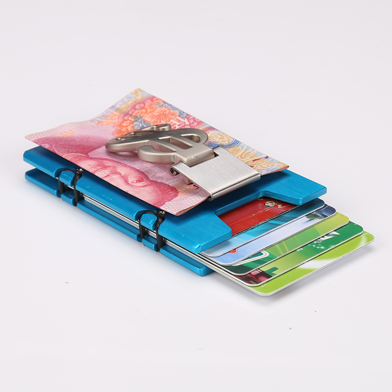 Купить с кэшбэком QOONG RFID Travel Card Wallet Men Women Business ID Credit Card Holder Fashion Brand Metal Aluminum Card Case with Bill Clip