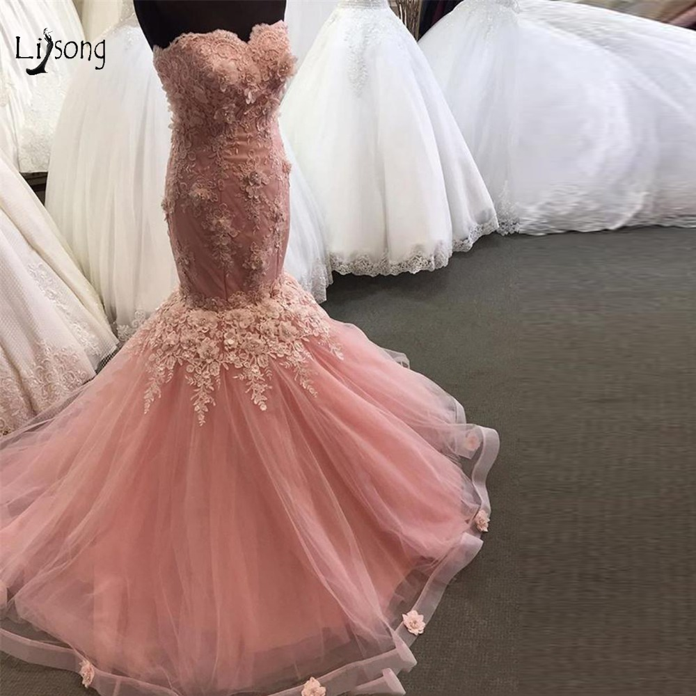 f2f09153d6e46 US $139.92 12% OFF|Dreamlike 2019 Blush Pink Mermaid Evening Dresses 3D  Flower Long Lace Prom Gowns Lace Up Ruffles Off Shoulder Formal Dress -in  ...