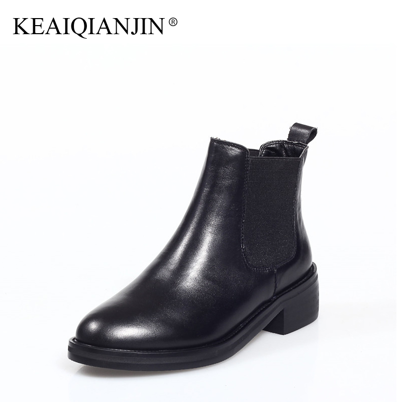 KEAIQIANJIN Woman Chelsea Boots Black Autumn Winter Ankle Boots Fashion Genuine Leather Shoes Punk Motorcycle Boots 2017 elastic band women genuine leather ankle boots chelsea hand made shoes motorcycle coincise fashion black matte women s boots